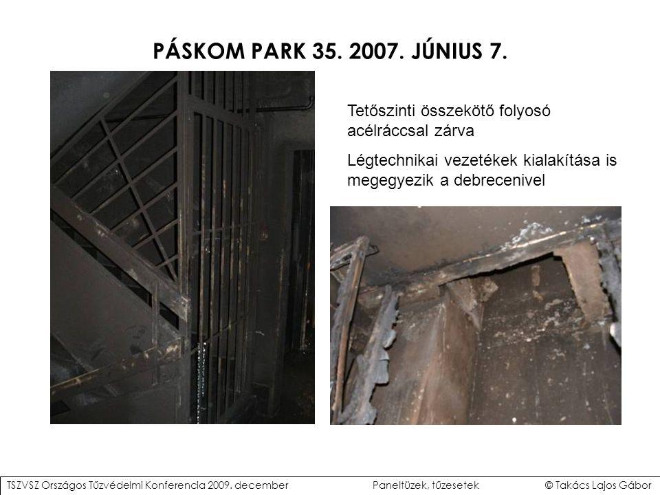 PÁSKOM PARK 35. 2007. JÚNIUS 7. Tetőszinti összekötő folyosó acélráccsal zárva. Légtechnikai vezetékek kialakítása is megegyezik a debrecenivel.