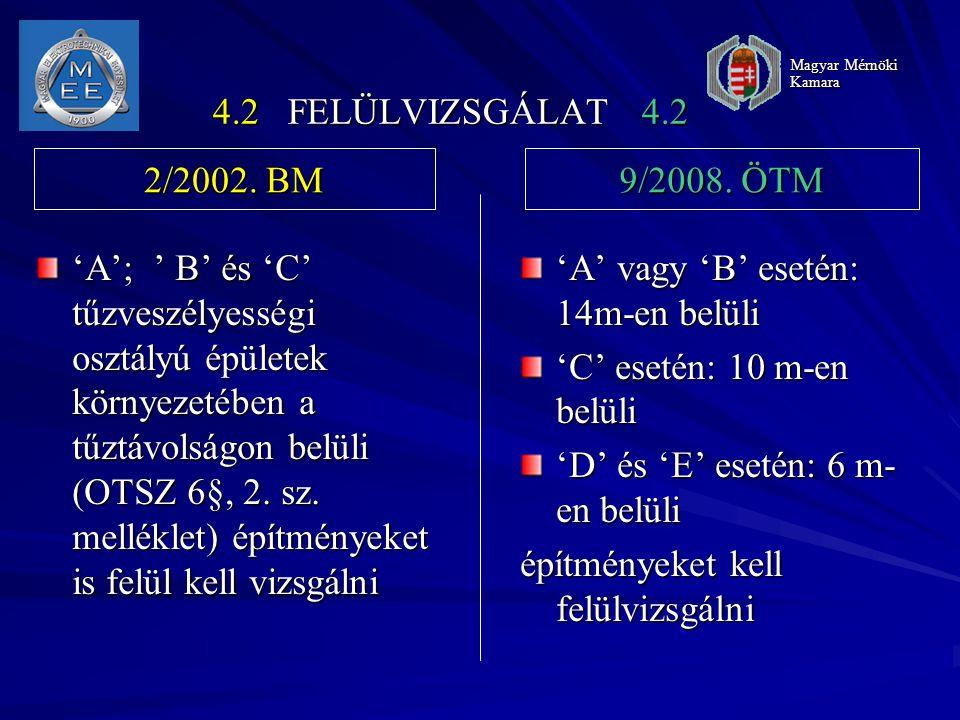 'A' vagy 'B' esetén: 14m-en belüli 'C' esetén: 10 m-en belüli