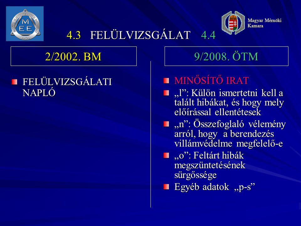 4.3 FELÜLVIZSGÁLAT 4.4 2/2002. BM 9/2008. ÖTM FELÜLVIZSGÁLATI NAPLÓ