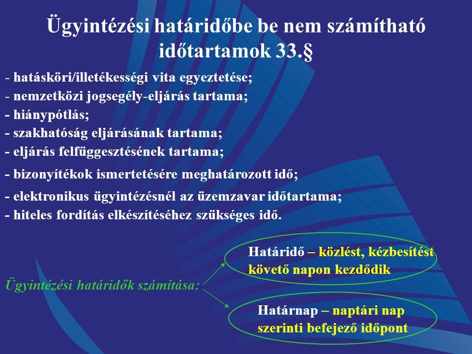 Ügyintézési határidőbe be nem számítható időtartamok 33.§