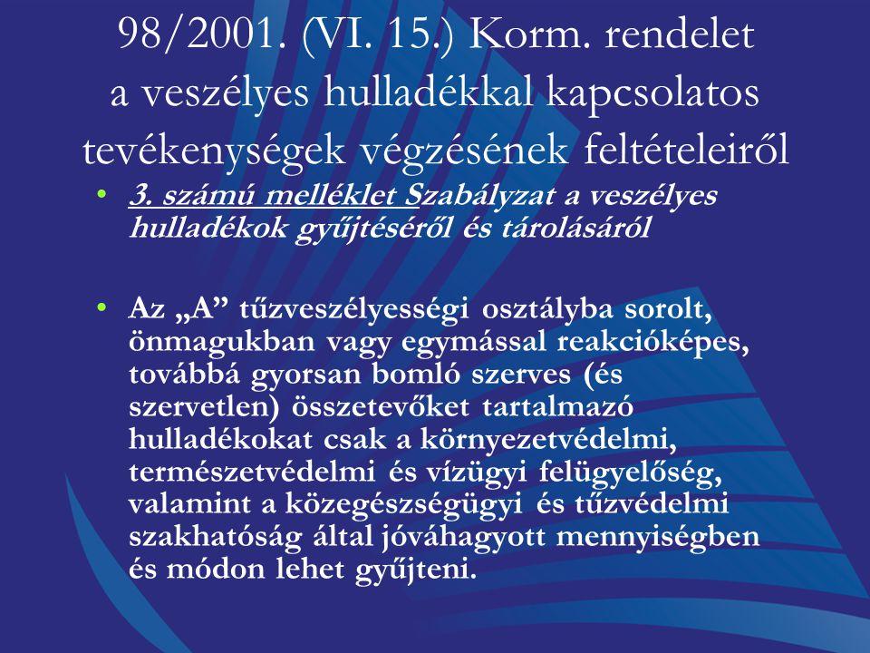 98/2001. (VI. 15.) Korm. rendelet a veszélyes hulladékkal kapcsolatos tevékenységek végzésének feltételeiről