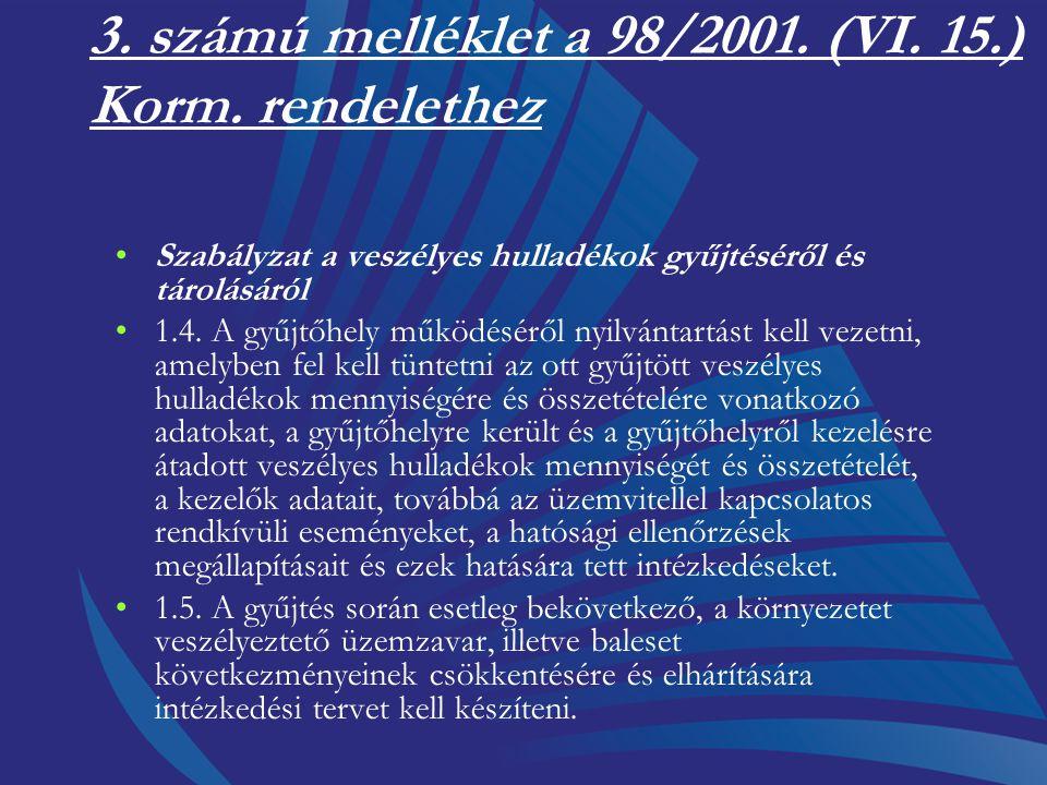 3. számú melléklet a 98/2001. (VI. 15.) Korm. rendelethez