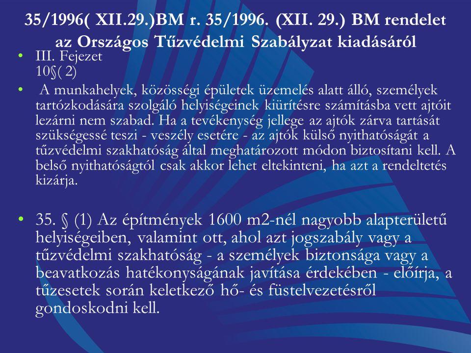 35/1996( XII.29.)BM r. 35/1996. (XII. 29.) BM rendelet az Országos Tűzvédelmi Szabályzat kiadásáról