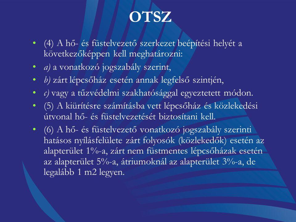OTSZ (4) A hő- és füstelvezető szerkezet beépítési helyét a következőképpen kell meghatározni: a) a vonatkozó jogszabály szerint,