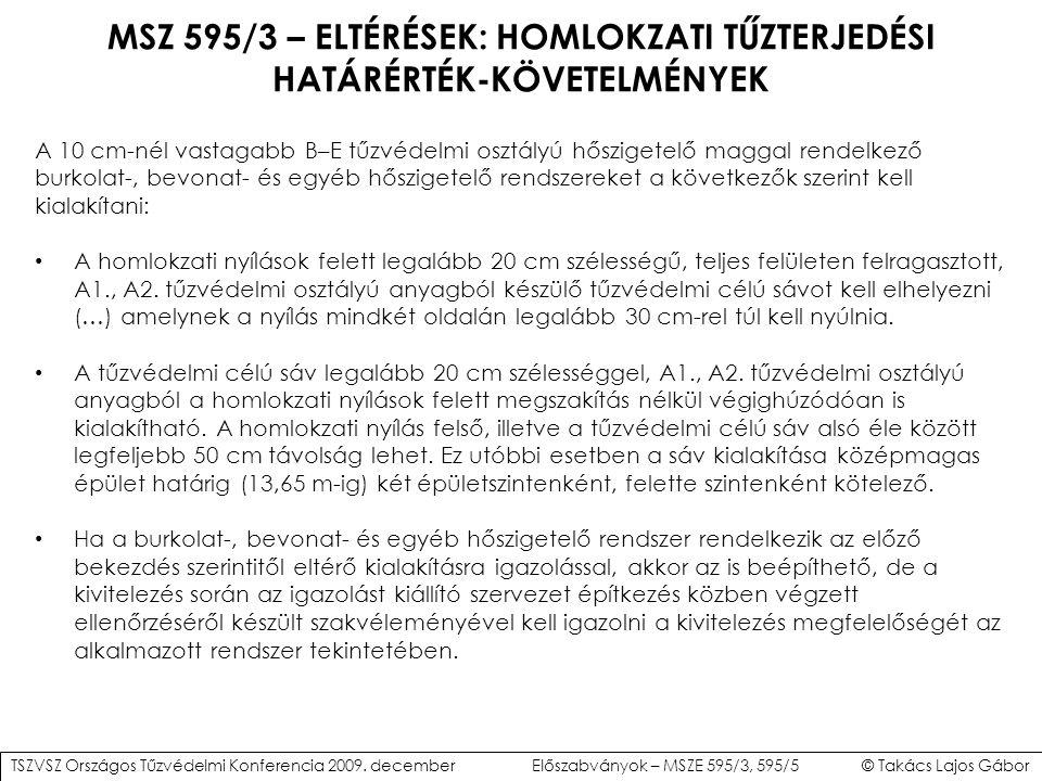 MSZ 595/3 – ELTÉRÉSEK: HOMLOKZATI TŰZTERJEDÉSI HATÁRÉRTÉK-KÖVETELMÉNYEK