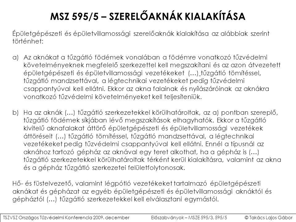 MSZ 595/5 – SZERELŐAKNÁK KIALAKÍTÁSA