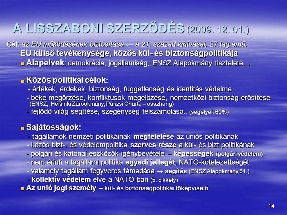 A LISSZABONI SZERZŐDÉS (2009. 12. 01.)