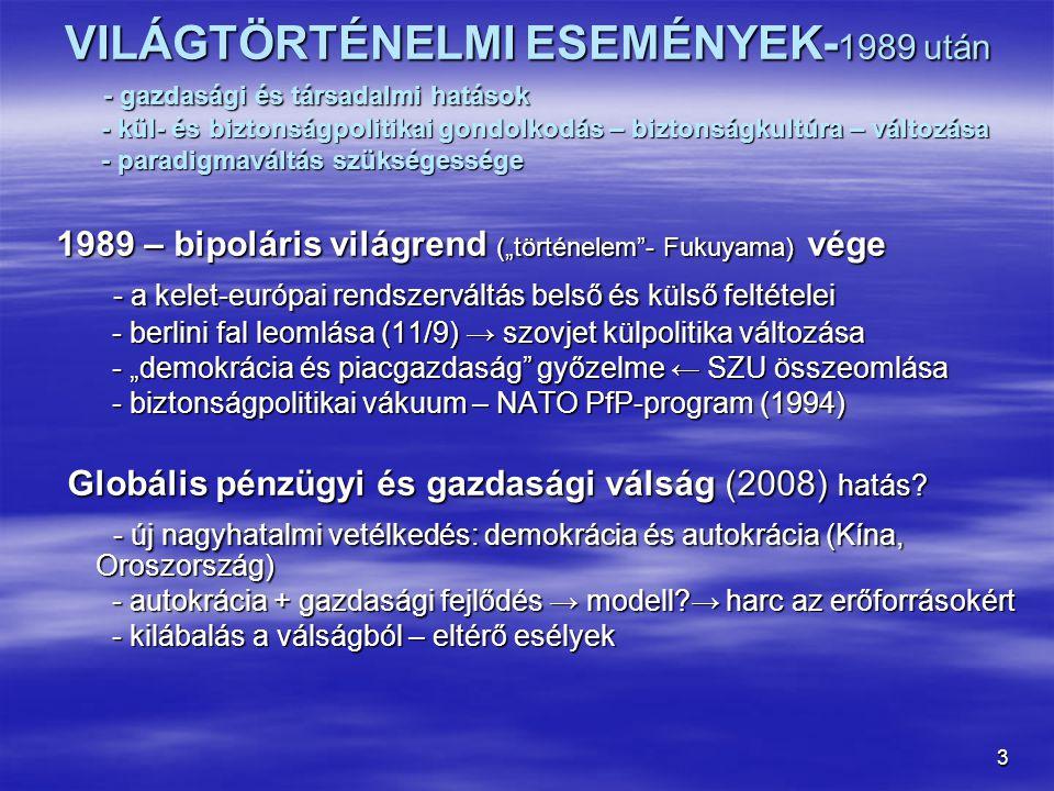 VILÁGTÖRTÉNELMI ESEMÉNYEK-1989 után - gazdasági és társadalmi hatások - kül- és biztonságpolitikai gondolkodás – biztonságkultúra – változása - paradigmaváltás szükségessége