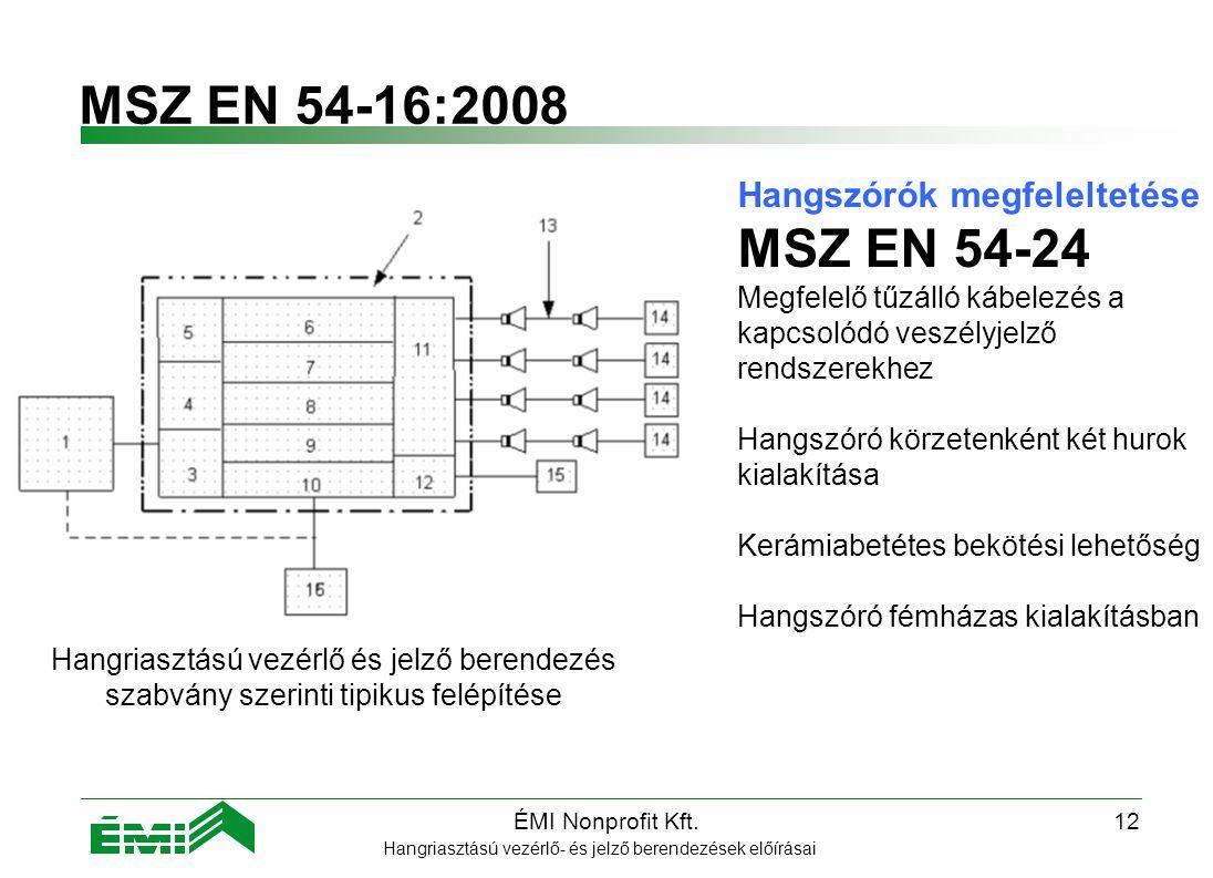 MSZ EN 54-16:2008 MSZ EN 54-24 Hangszórók megfeleltetése
