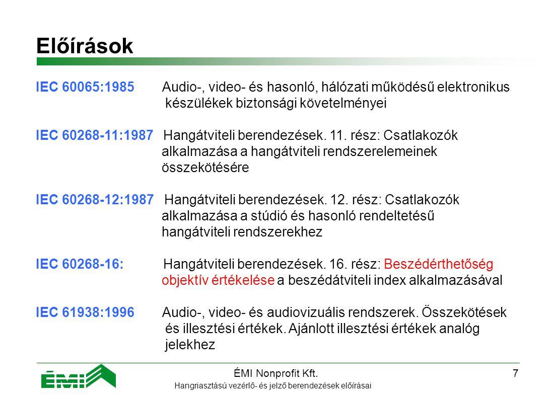 Előírások IEC 60065:1985 Audio-, video- és hasonló, hálózati működésű elektronikus. készülékek biztonsági követelményei.