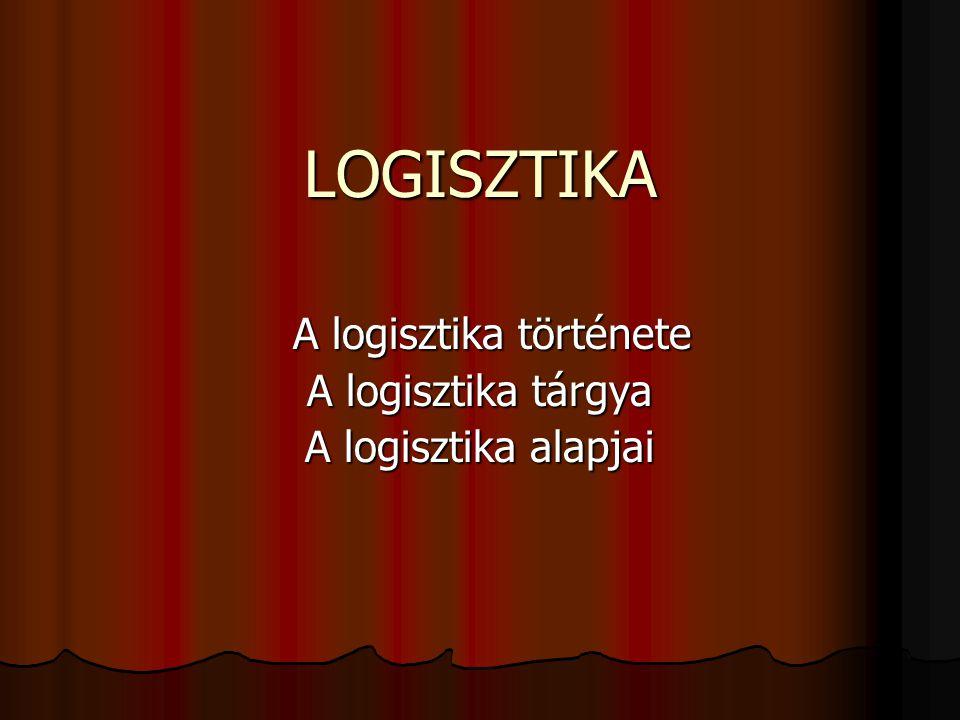A logisztika története A logisztika tárgya A logisztika alapjai