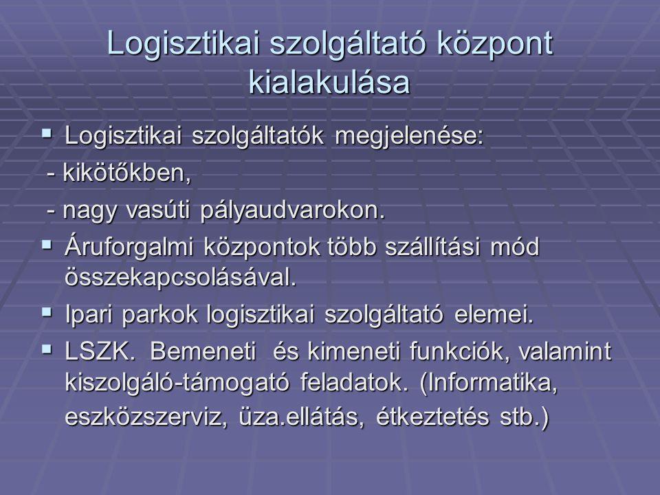 Logisztikai szolgáltató központ kialakulása