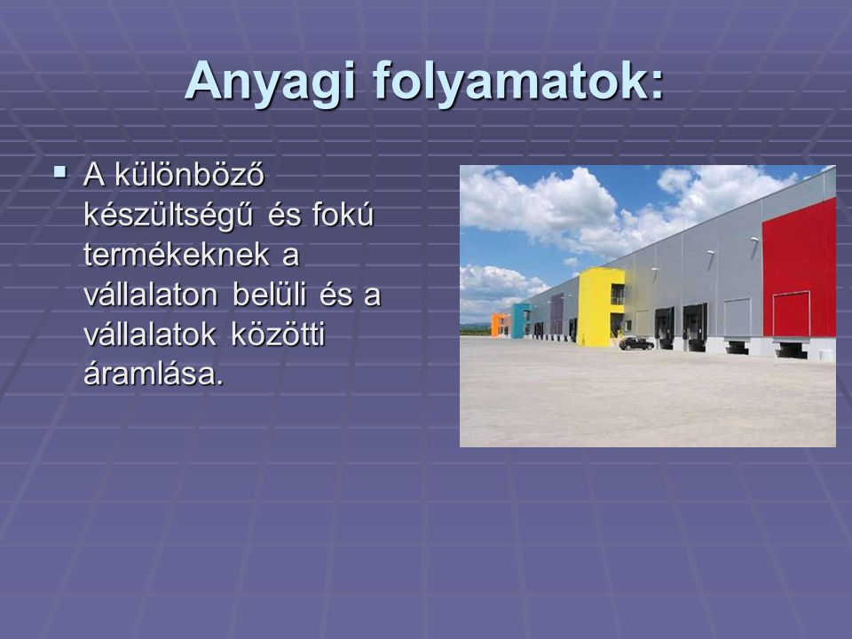Anyagi folyamatok: A különböző készültségű és fokú termékeknek a vállalaton belüli és a vállalatok közötti áramlása.