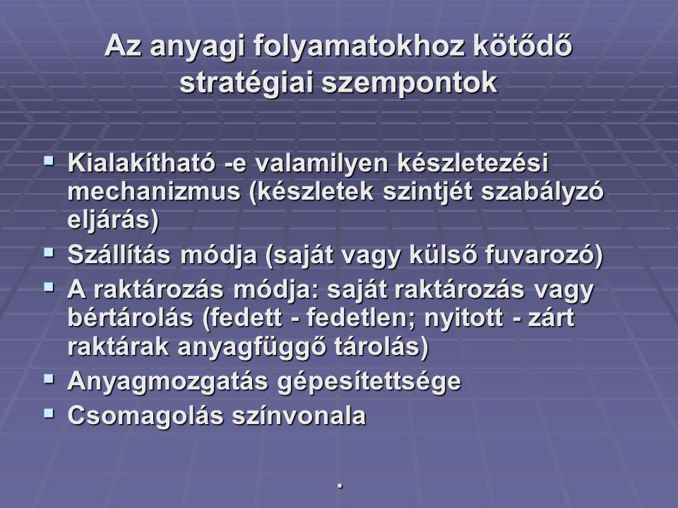 Az anyagi folyamatokhoz kötődő stratégiai szempontok