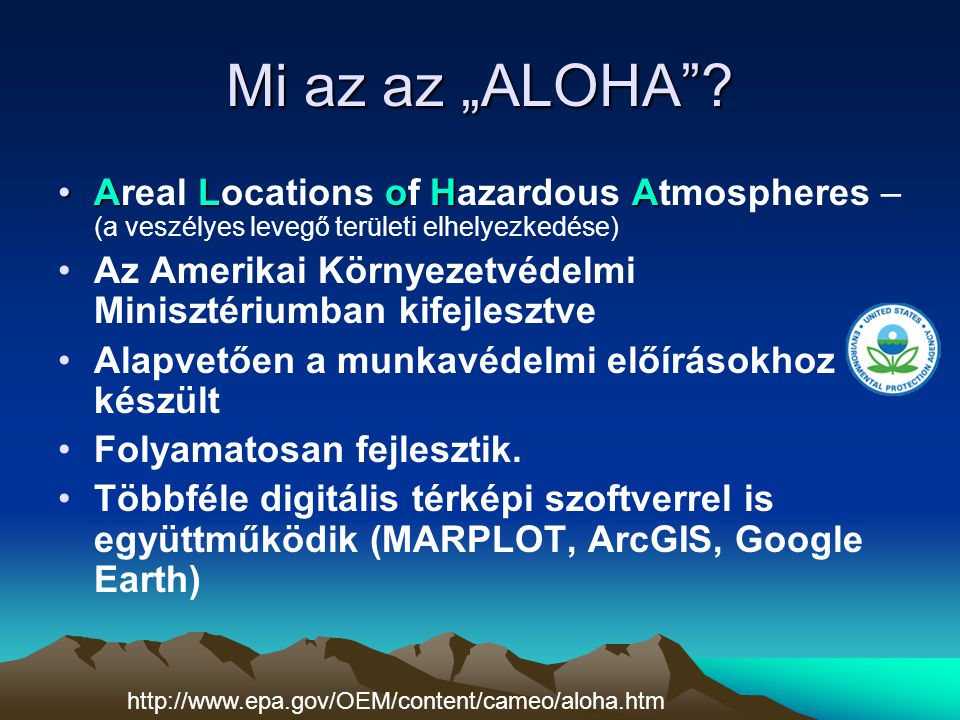 """Mi az az """"ALOHA Areal Locations of Hazardous Atmospheres – (a veszélyes levegő területi elhelyezkedése)"""