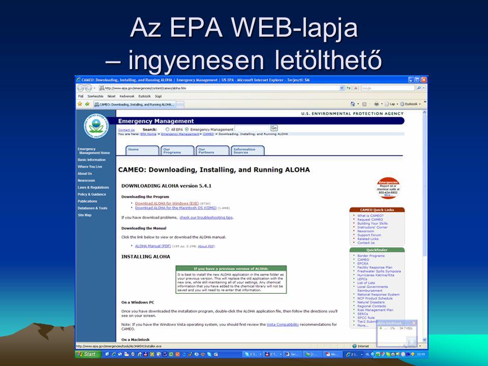 Az EPA WEB-lapja – ingyenesen letölthető