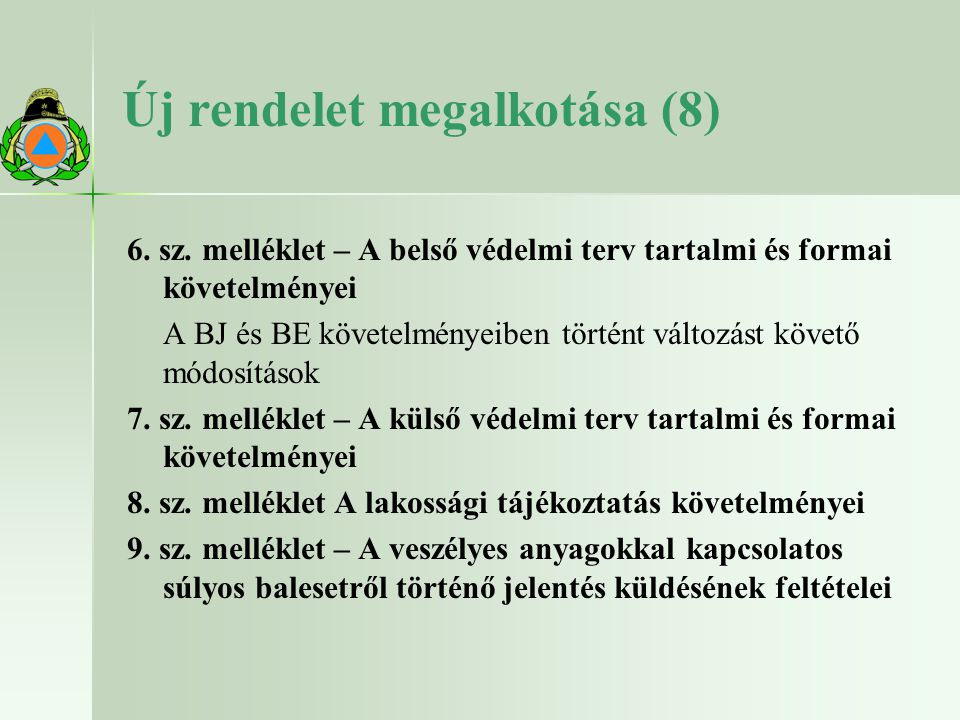 Új rendelet megalkotása (8)