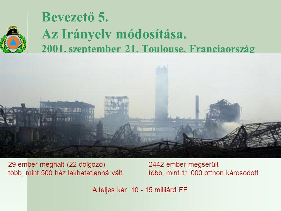 2017.04.04. Bevezető 5. Az Irányelv módosítása. 2001. szeptember 21. Toulouse, Franciaország.