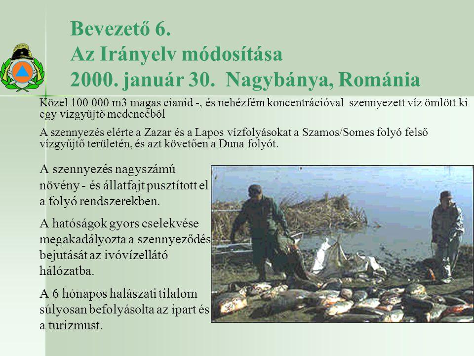 Bevezető 6. Az Irányelv módosítása 2000. január 30. Nagybánya, Románia