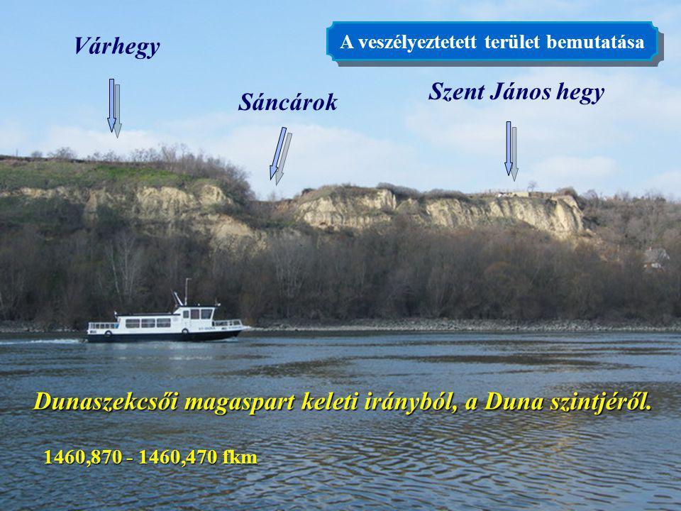 Dunaszekcsői magaspart keleti irányból, a Duna szintjéről.