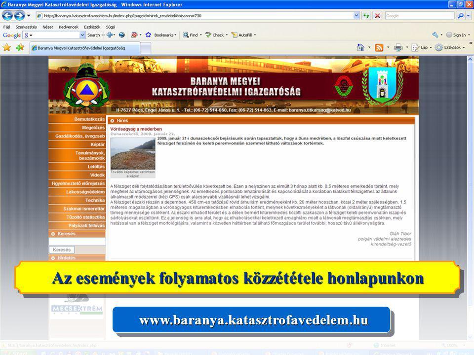 Az események folyamatos közzététele honlapunkon