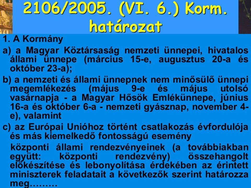 2106/2005. (VI. 6.) Korm. határozat 1. A Kormány