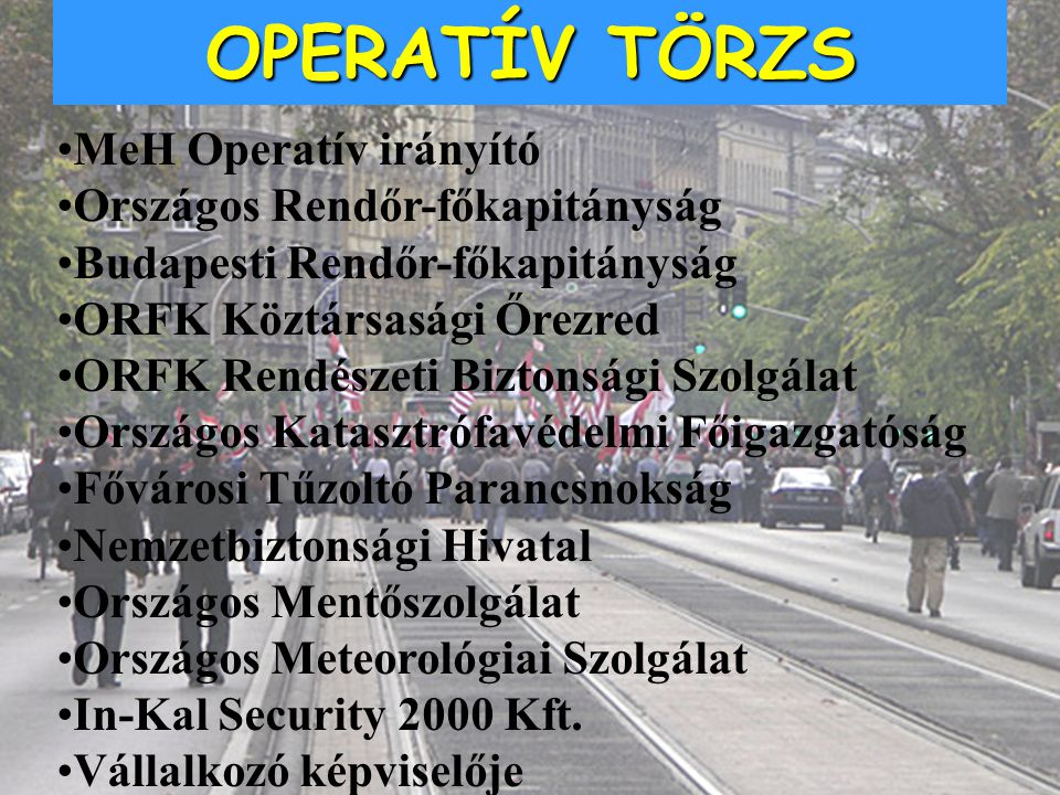 OPERATÍV TÖRZS MeH Operatív irányító Országos Rendőr-főkapitányság