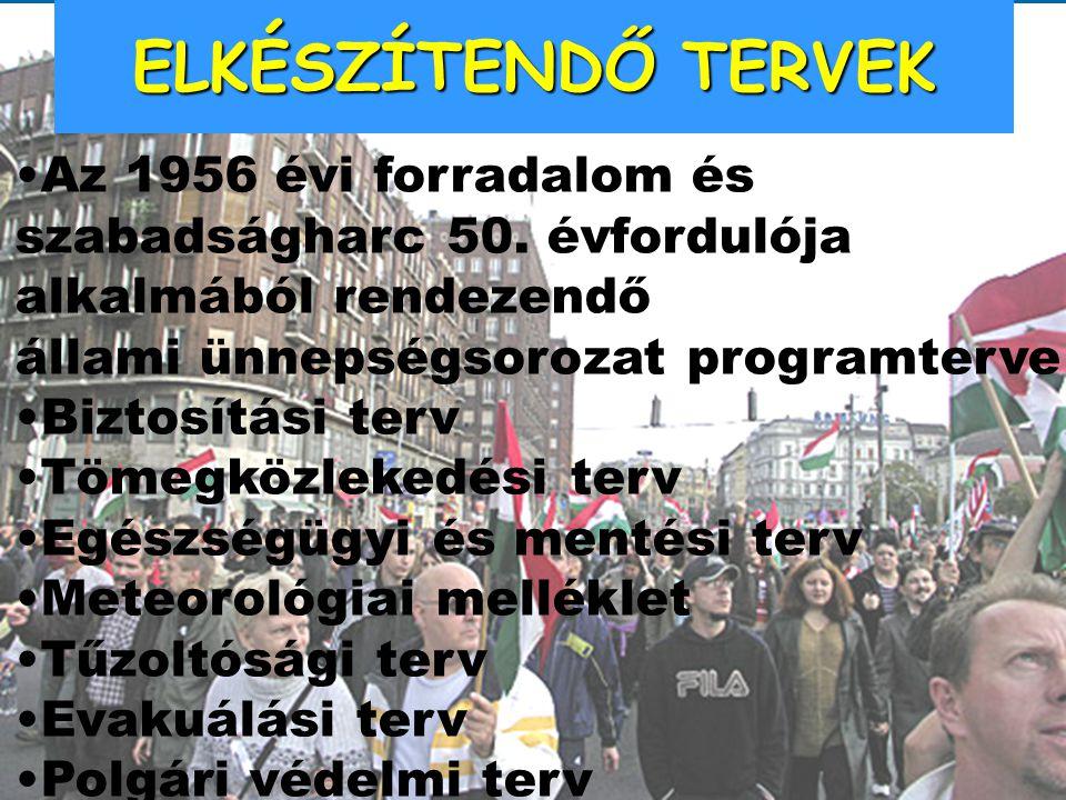 ELKÉSZÍTENDŐ TERVEK Az 1956 évi forradalom és szabadságharc 50. évfordulója alkalmából rendezendő. állami ünnepségsorozat programterve.
