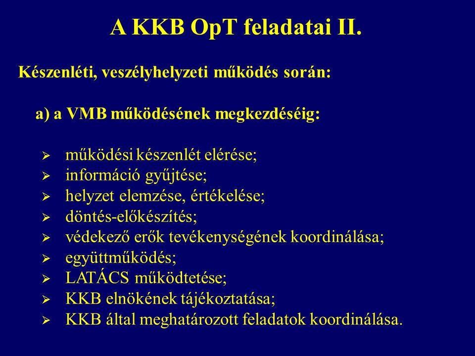 A KKB OpT feladatai II. Készenléti, veszélyhelyzeti működés során: