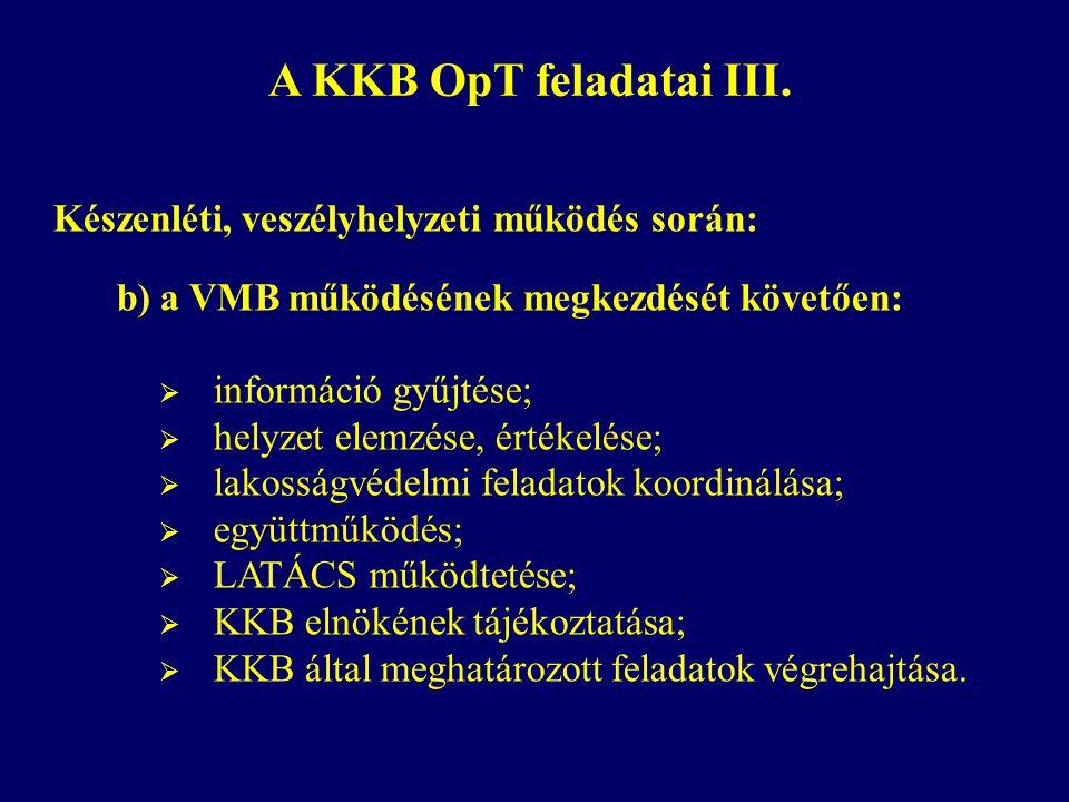 A KKB OpT feladatai III. Készenléti, veszélyhelyzeti működés során: