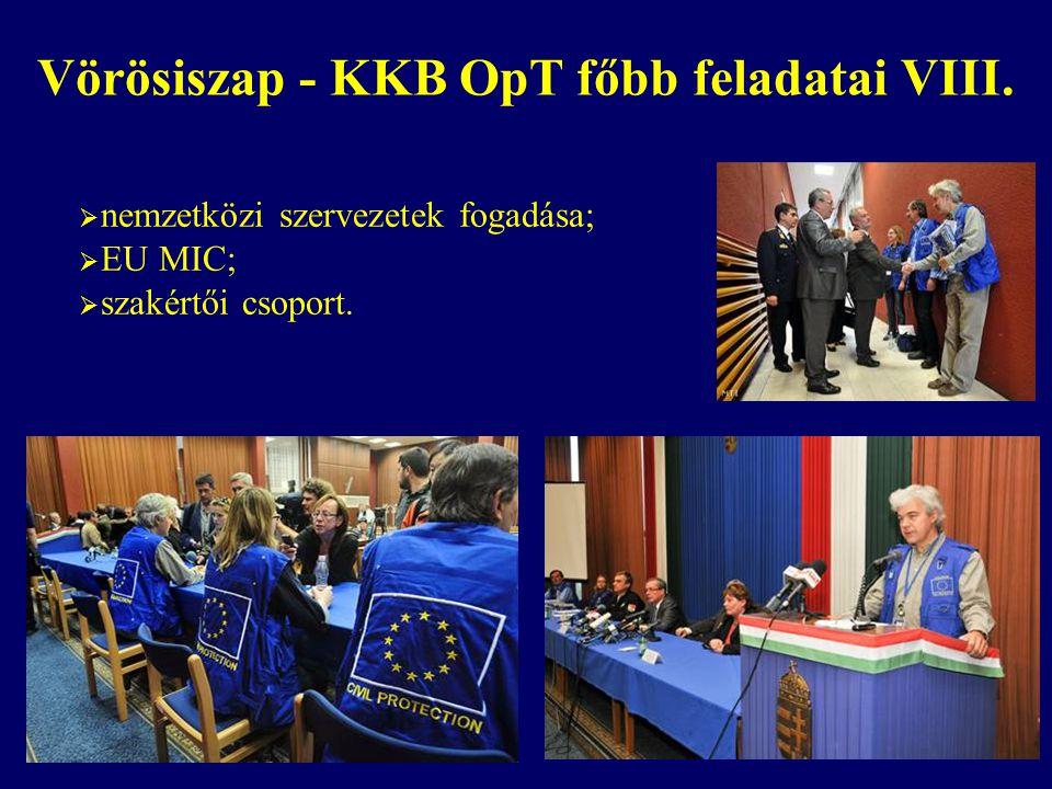 Vörösiszap - KKB OpT főbb feladatai VIII.