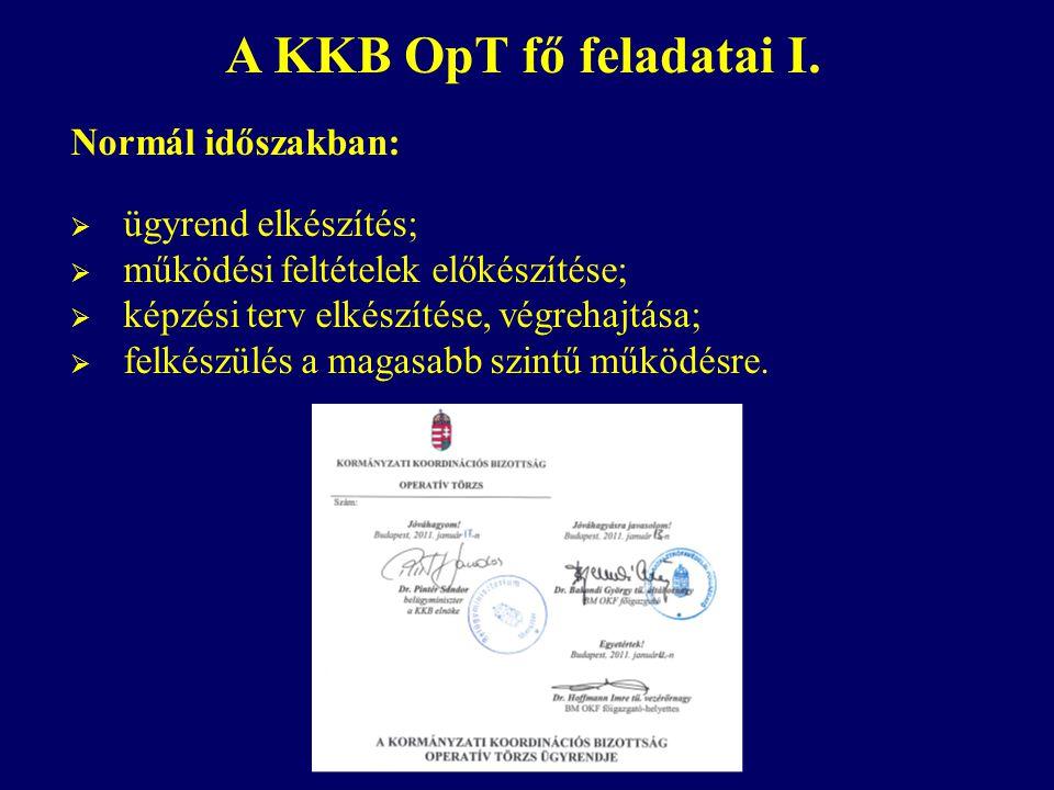 A KKB OpT fő feladatai I. Normál időszakban: ügyrend elkészítés;