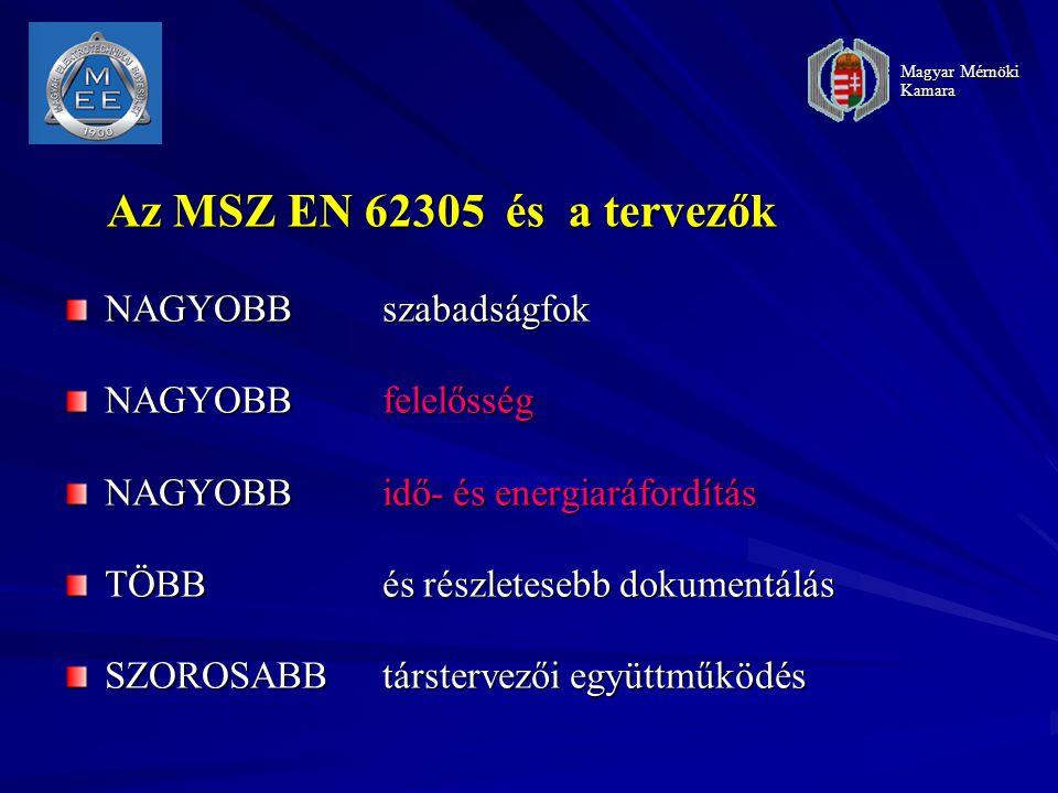 Az MSZ EN 62305 és a tervezők NAGYOBB szabadságfok NAGYOBB felelősség