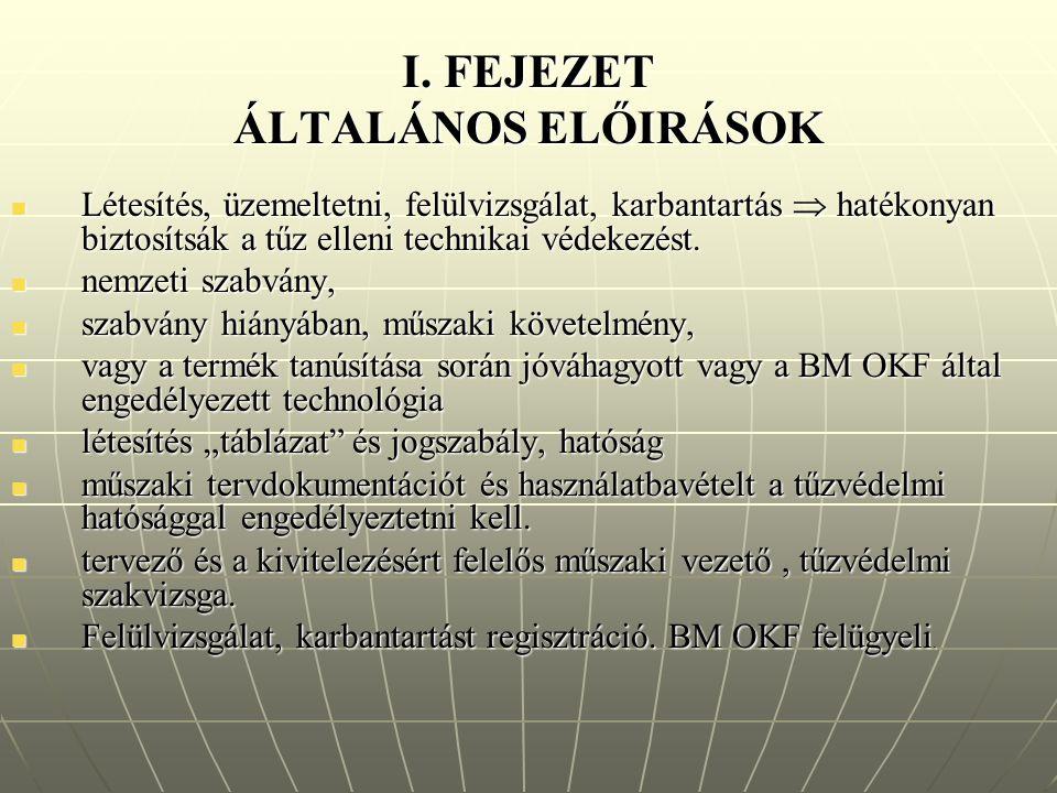 I. FEJEZET ÁLTALÁNOS ELŐIRÁSOK