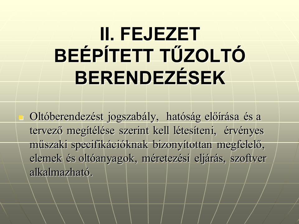 II. FEJEZET BEÉPÍTETT TŰZOLTÓ BERENDEZÉSEK