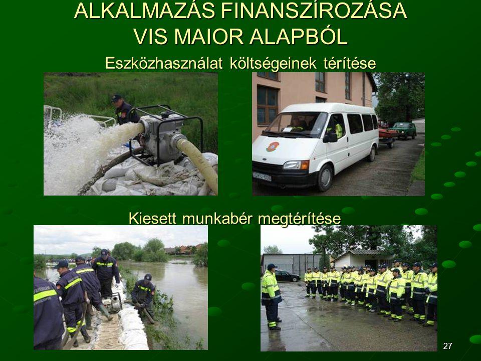 ALKALMAZÁS FINANSZÍROZÁSA VIS MAIOR ALAPBÓL