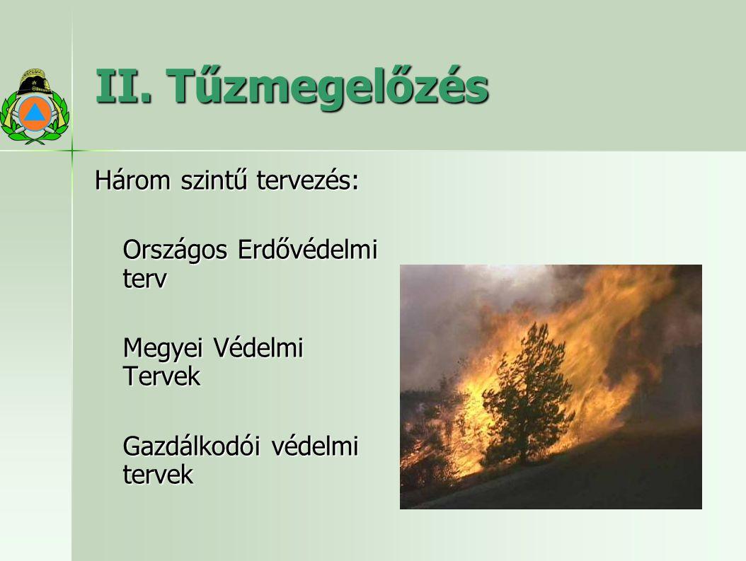 II. Tűzmegelőzés Három szintű tervezés: Országos Erdővédelmi terv