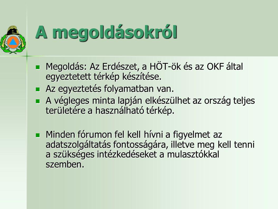 A megoldásokról Megoldás: Az Erdészet, a HÖT-ök és az OKF által egyeztetett térkép készítése. Az egyeztetés folyamatban van.