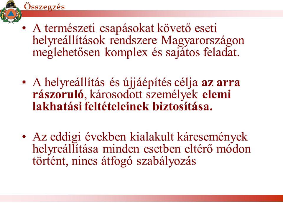 Összegzés A természeti csapásokat követő eseti helyreállítások rendszere Magyarországon meglehetősen komplex és sajátos feladat.