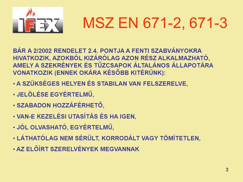 MSZ EN 671-2, 671-3