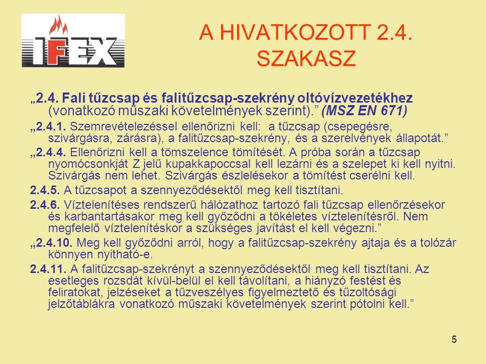 """A HIVATKOZOTT 2.4. SZAKASZ """"2.4. Fali tűzcsap és falitűzcsap-szekrény oltóvízvezetékhez (vonatkozó műszaki követelmények szerint). (MSZ EN 671)"""