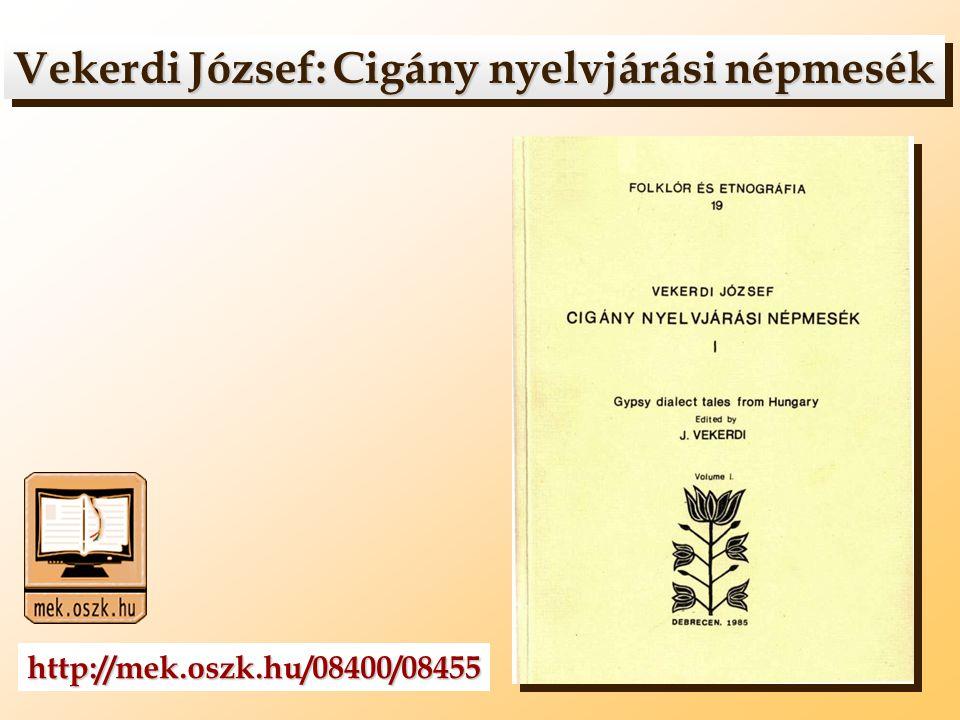 Vekerdi József: Cigány nyelvjárási népmesék