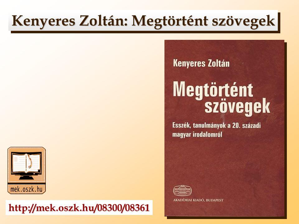 Kenyeres Zoltán: Megtörtént szövegek