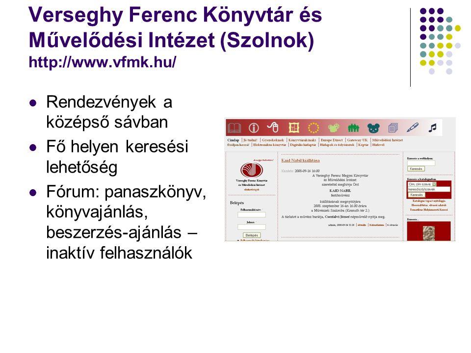 Verseghy Ferenc Könyvtár és Művelődési Intézet (Szolnok) http://www