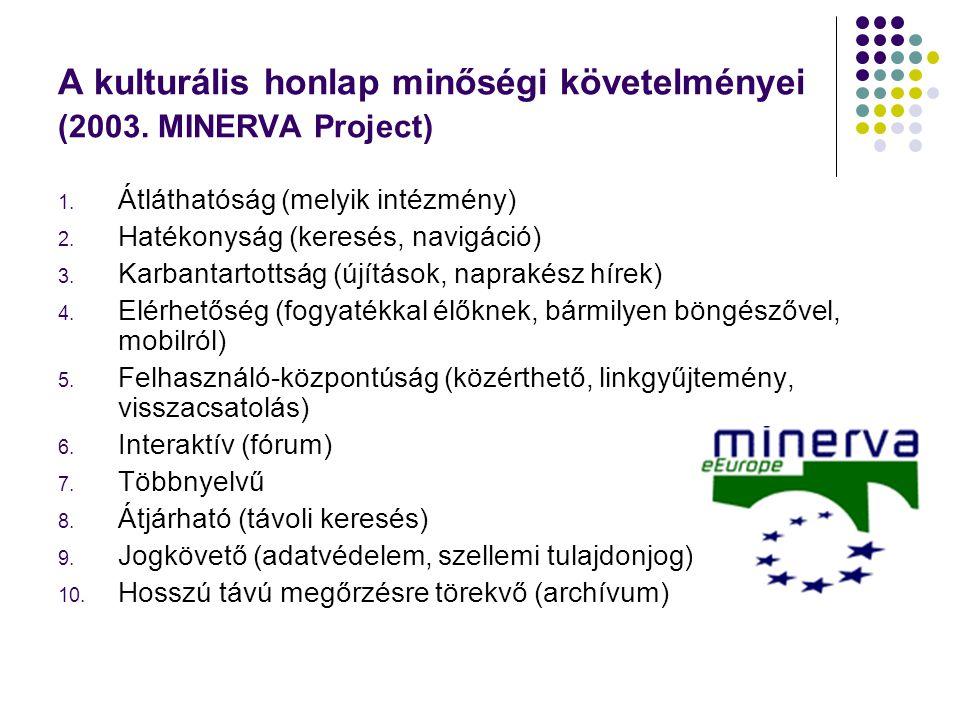 A kulturális honlap minőségi követelményei (2003. MINERVA Project)