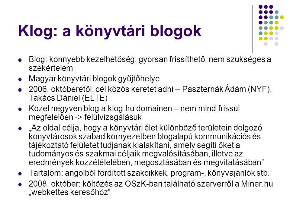 Klog: a könyvtári blogok