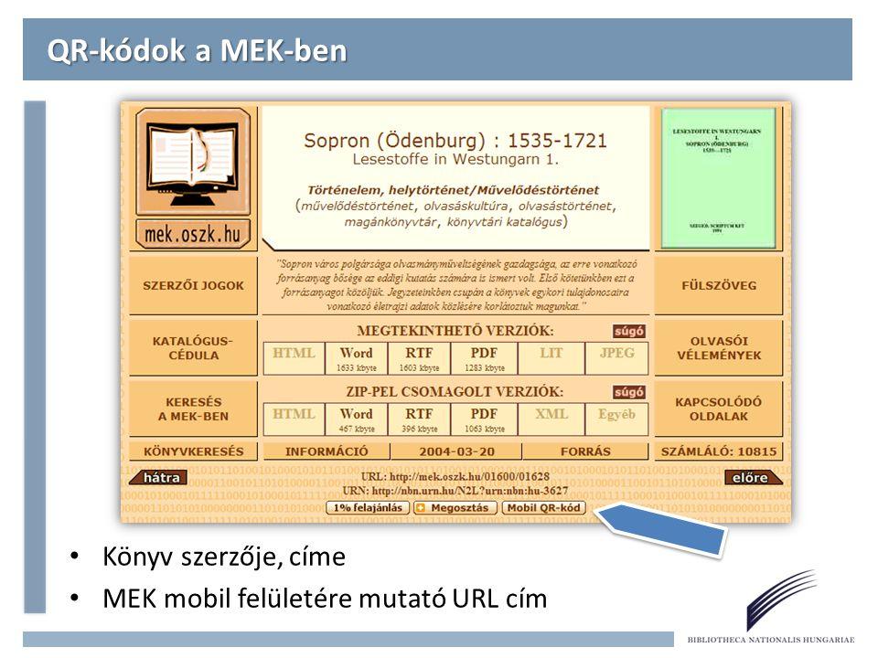 QR-kódok a MEK-ben Könyv szerzője, címe