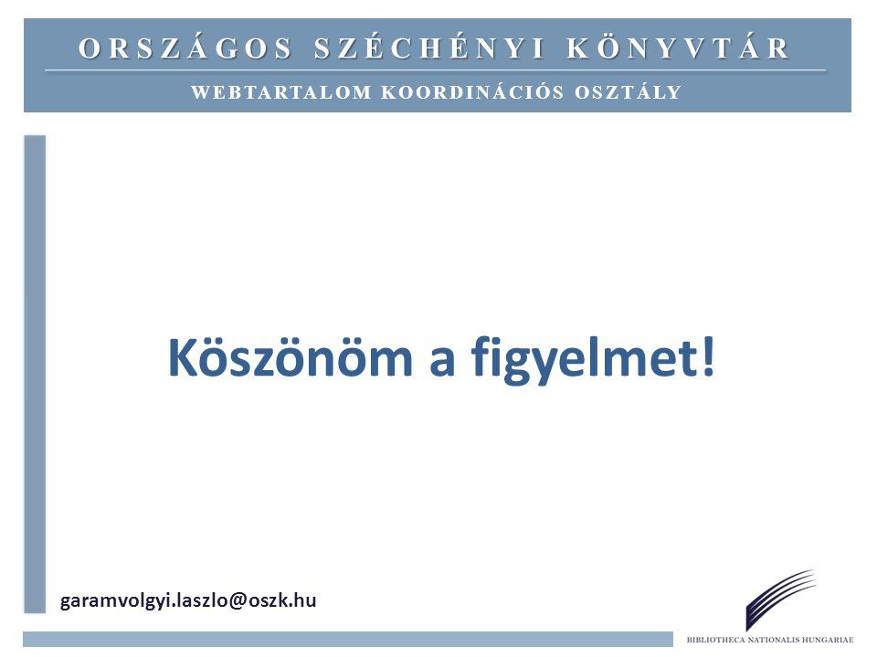 Köszönöm a figyelmet! garamvolgyi.laszlo@oszk.hu