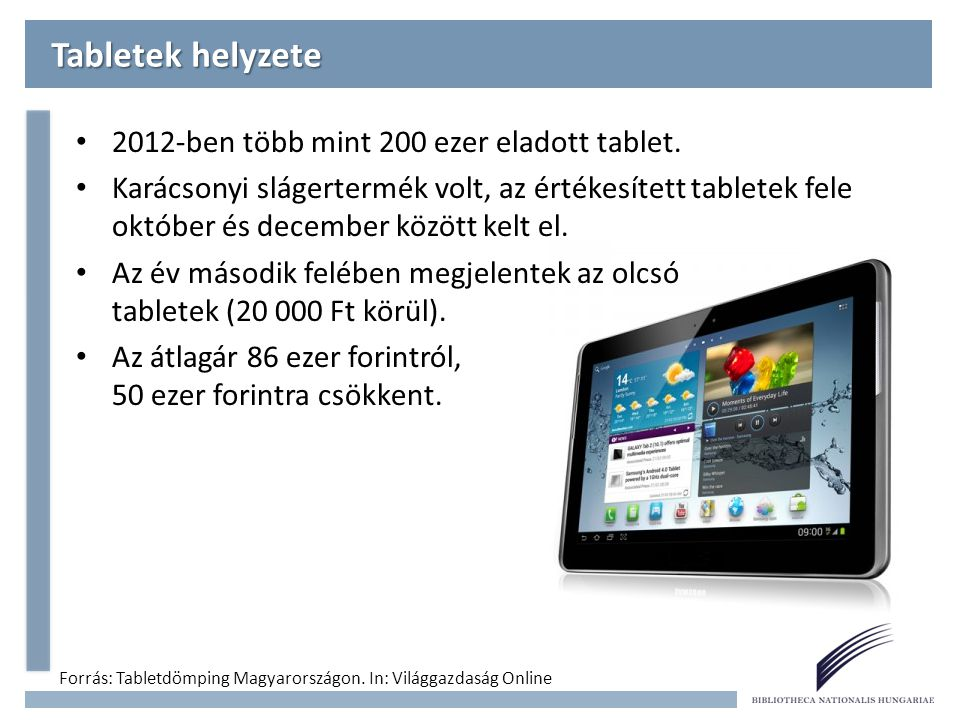 Tabletek helyzete 2012-ben több mint 200 ezer eladott tablet.