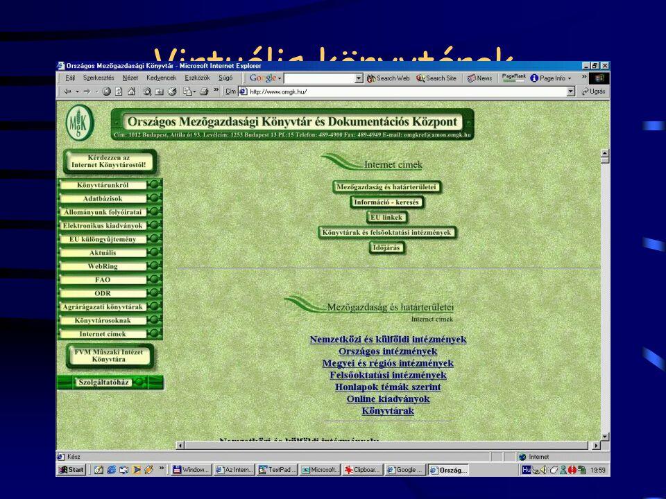 Virtuális könyvtárak eligazodás, eligazítás a Net világában